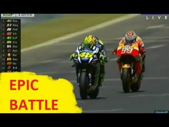 ROSSI vs MARQUEZ (EPIC BATTLE) MotoGP Catalunya 2016